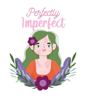 Perfeitamente imperfeito, mulher cartoon com vitiligo e retrato de flores