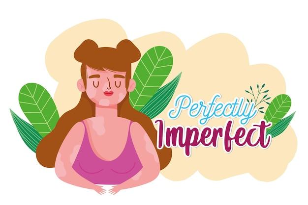 Perfeitamente imperfeito, mulher com ilustração de retrato de vitiligo