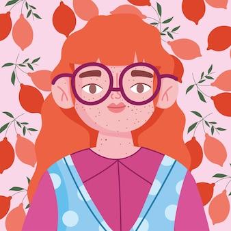 Perfeitamente imperfeito, mulher de desenho animado com óculos e sardas no rosto