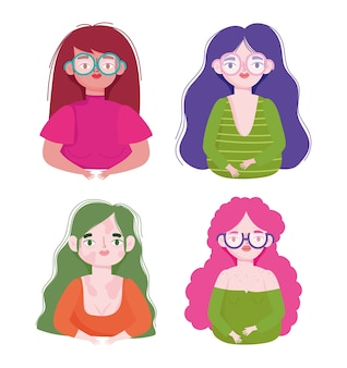 Perfeitamente imperfeito, personagens femininas de desenhos animados com vitiligo e sardas