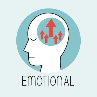 Perfil cabeça humana cérebro emocional