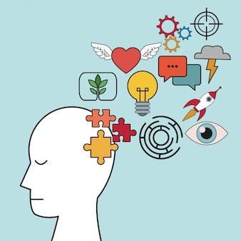 Perfil cabeça humana foco foco inovação
