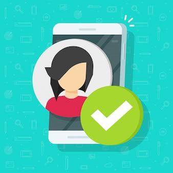 Perfil com a marca de seleção no smartphone ou celular plana dos desenhos animados