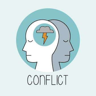Perfil conflito de cabeça humana