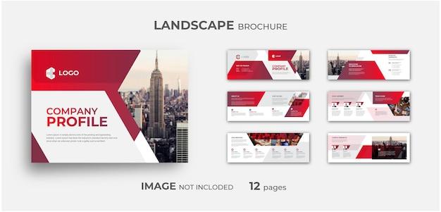 Perfil da empresa profissional modelo de folheto de paisagem com várias páginas design de folheto mínimo