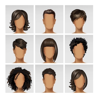 Perfil de avatar de rosto feminino masculino multinacional