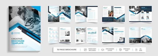 Perfil de empresa corporativa moderno criativo e design de modelo de folheto de várias páginas bifold