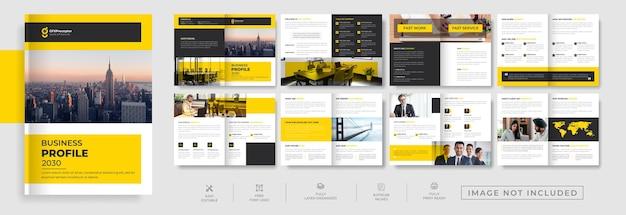 Perfil de empresa moderno de 16 páginas, design de brochura com duas dobras combinadas em amarelo e preto