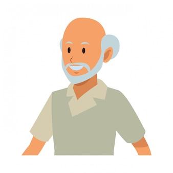 Perfil de homem velho