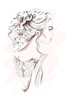 Perfil de mulher jovem e bonita.