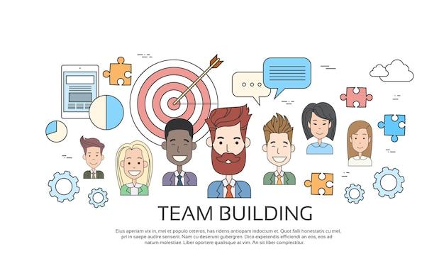 Perfil de pessoa de negócios de conceito de construção de equipe