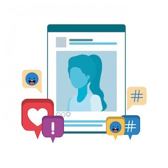 Perfil de rede social mulher com bolha do discurso