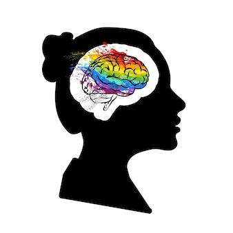 Perfil de rosto de mulher negra detalhada com cérebro criativo na cabeça isolada no branco