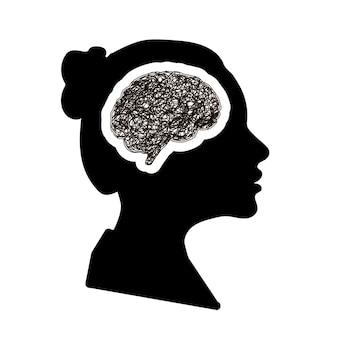 Perfil de rosto de mulher negra detalhada com cérebro de cérebro com doodle redondo bagunçado eclodindo na cabeça, conceito de depressão