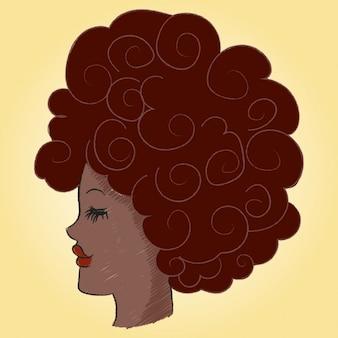 Perfil de uma mulher afro com blackpower