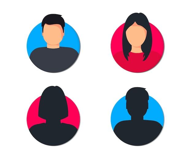 Perfil de usuário masculino e feminino avatar homem e mulher ícones de gênero pessoa desconhecida ou anônima
