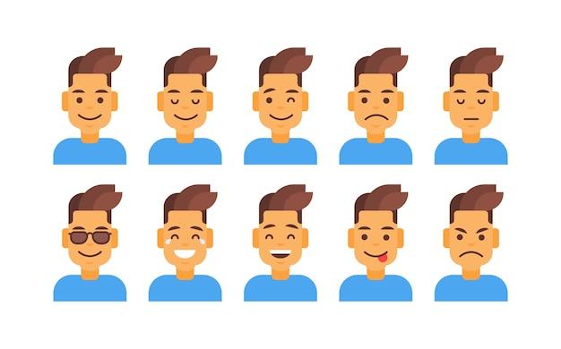 Perfil ícone masculino diferente conjunto de emoções avatar