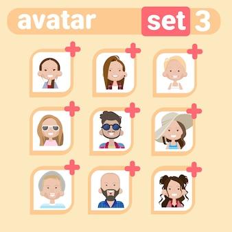 Perfil masculino e feminino avatar set, homem mulher retrato dos desenhos animados, casual pessoa rosto coleção