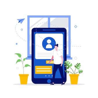 Perfil móvel e conceitos de análise de cliente com caráter.