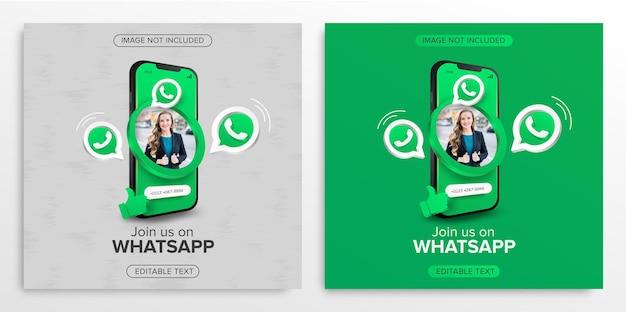 Perfil na promoção móvel do whatsapp para postagem em mídia social