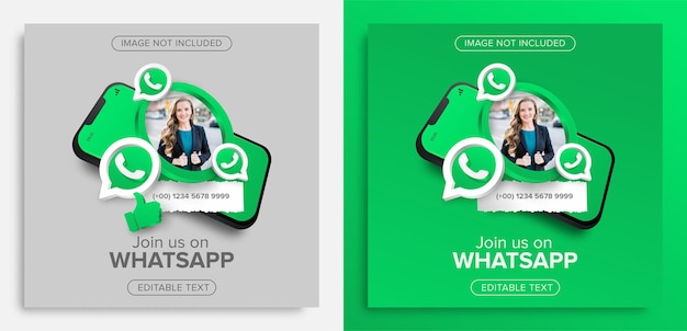 Perfil no modelo de banner de promoção de marketing do whatsapp