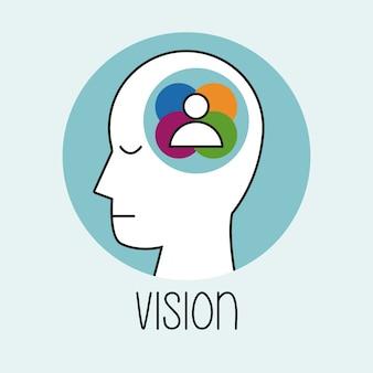 Perfil pessoas de visão de cabeça humana