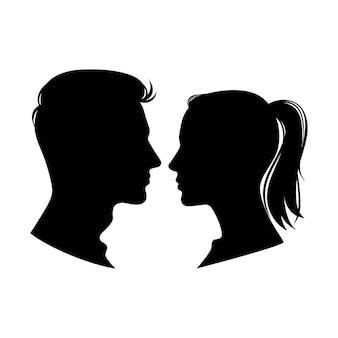 Perfis de mulher e homem.