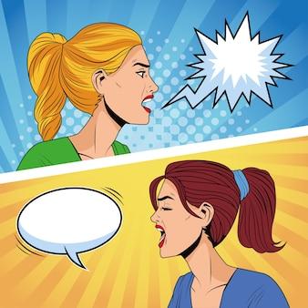 Perfis de mulheres irritadas com personagens de estilo pop art de balões de fala