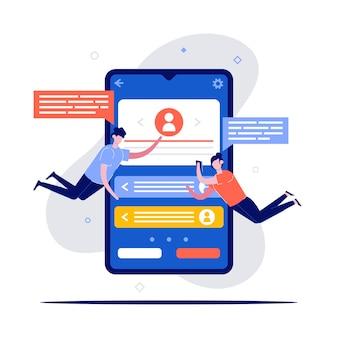 Perfis de telefone móvel, conceitos de dados de informações do usuário com personagem.