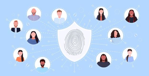 Perfis sociais rede biométrico impressão digital segurança proteção de dados acesso computador tecnologia identificação de usuário conceito horizontal
