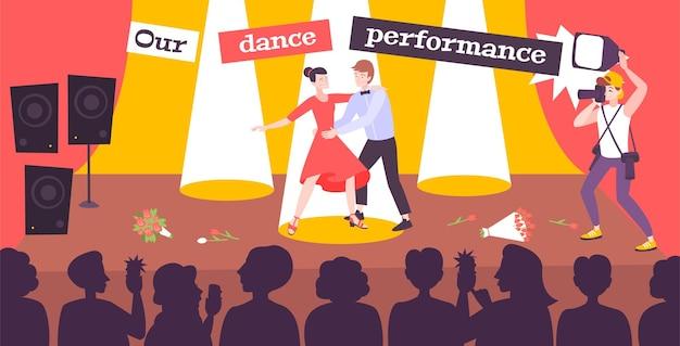 Performance de dança em ilustração de salão de baile
