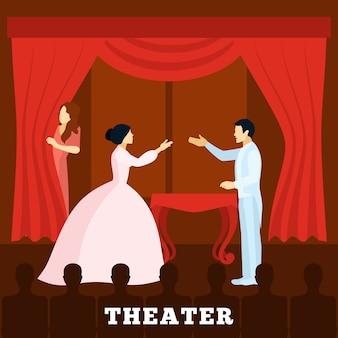 Performance de palco de teatro com cartaz de audiência