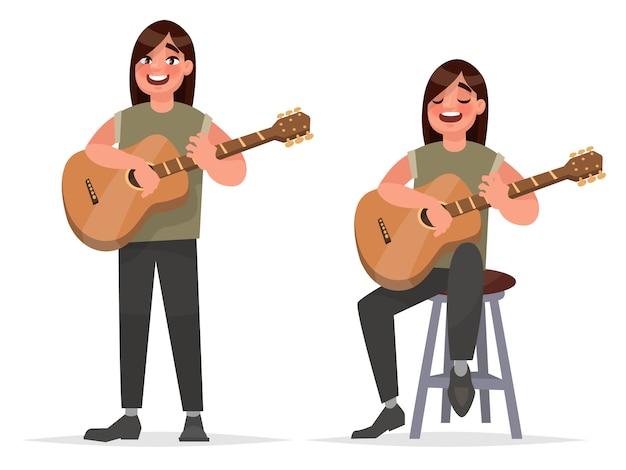Performance musical. o guitarrista homem está tocando em um violão e cantando uma canção ilustração de estoque em estilo cartoon