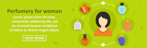 Perfumaria para o conceito horizontal do modelo de banner de mulher