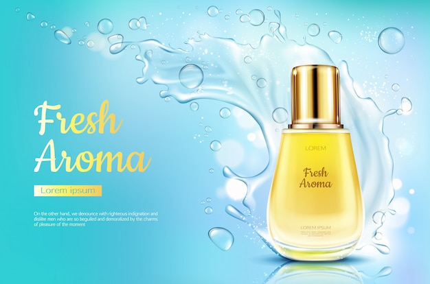 Perfume aroma fresco em frasco de vidro com respingos de água no fundo desfocado azul.