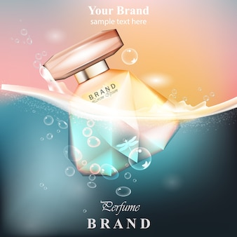 Perfume bottle water bubbles background. produto de vetor realista design de embalagens de ouro mo