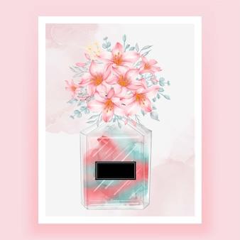 Perfume com flor rosa aquarela ilustração