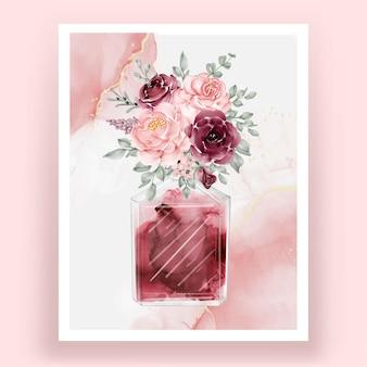 Perfume com flor rosa rosa bordô