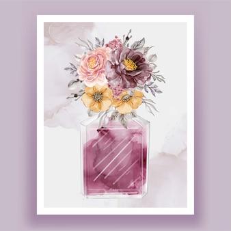 Perfume com flor rosa roxo vintage aquarela ilustração