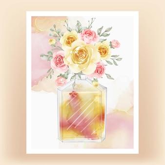 Perfume com ilustração em aquarela de flor amarela pêssego