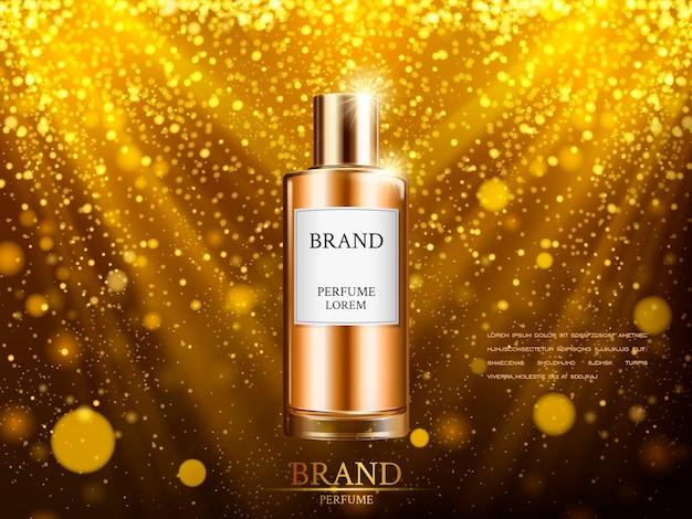 Perfume contido em frasco dourado