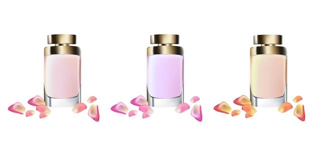 Perfume cosmetics package vector realista maquete acima
