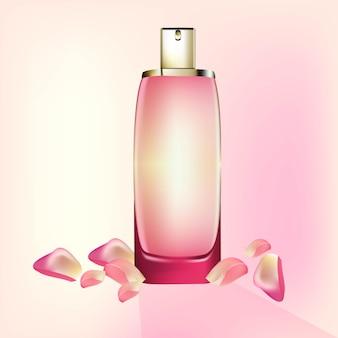 Perfume cosmetics package vector realista maquete. eau de toillete garrafa dourada perfeito para publicidade, folheto, banner, cartaz. ilustração 3d
