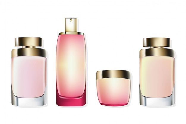 Perfume cosmetics set vector realista mock up