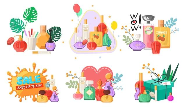 Perfume definido vetor plano isolado ilustração sazonal e férias venda e descontos banners de promoção ...
