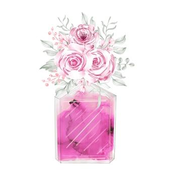Perfume e flores ilustração de moda rosa aquarela clipart
