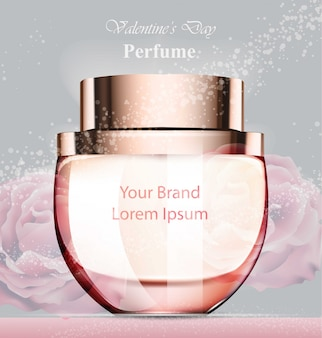 Perfume feminino de fragrância rosada delicada. desenhos de embalagens de produtos de vetor realista m