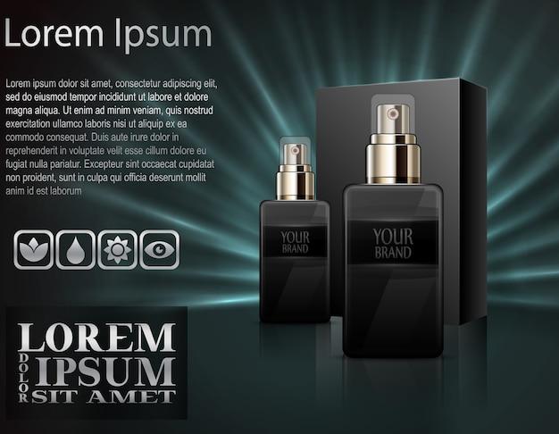 Perfume realista em garrafas com caixa de embalagem