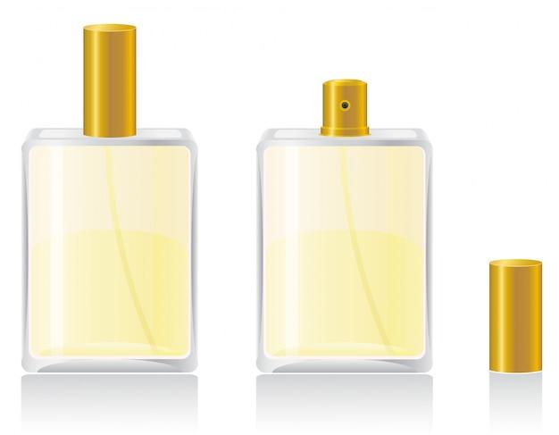 Perfumes em ilustração vetorial de garrafa