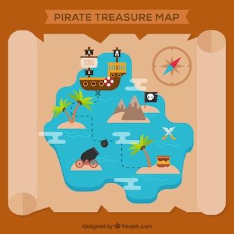 Pergaminho com mapa do tesouro pirata